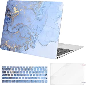 MOSISO Compatible with MacBook 12 inch Case with Retina Display (Model A1534, Release 2017 2016 2015), Plastic Watercolor Marble Hard Shell Case & Keyboard Cover Skin & Screen Protector, Blue