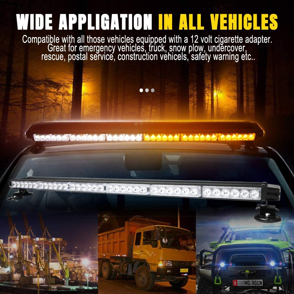 IP65 Waterproof for Snow Plow Trucks or Construction Vehicles 78W 38 78 LED 7 Flash Mode Traffic Advisor Four Side Rooftop Emergency Hazard Warning Strobe Light with Four Strong Magnetic Base