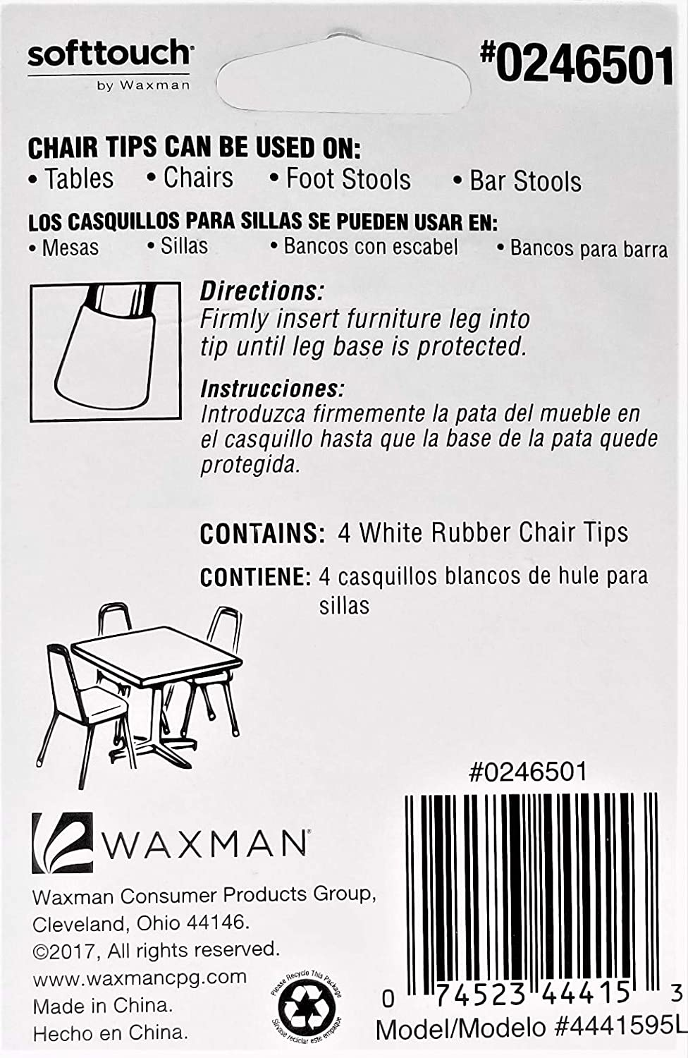 Softtouch Rubber Chair Tips, White, 7/8-1 Inch, 4-Pack ...