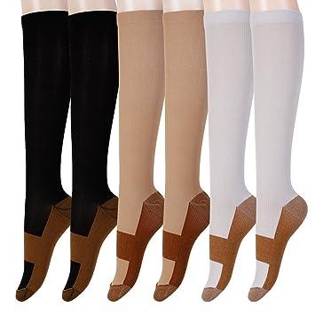 b6e715410b2 Graduated Copper Compression Socks 6 Pairs Anti Fatigue Knee High Socks For Men  Women Pain Ache