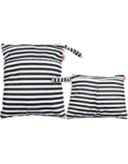 Damero 2pcs Wet and Dry Cloth Diaper Bag, Travel Packing Organizer with Handle for Cloth Diaper, Pumping Parts, Clothes and More, Easy to Grab and Go, Black Strips