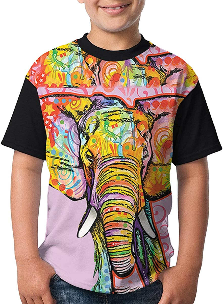 BIAN-64 Youth Art Elephant Casual 3D Pattern Printed Short Sleeve T-Shirts Top Tees