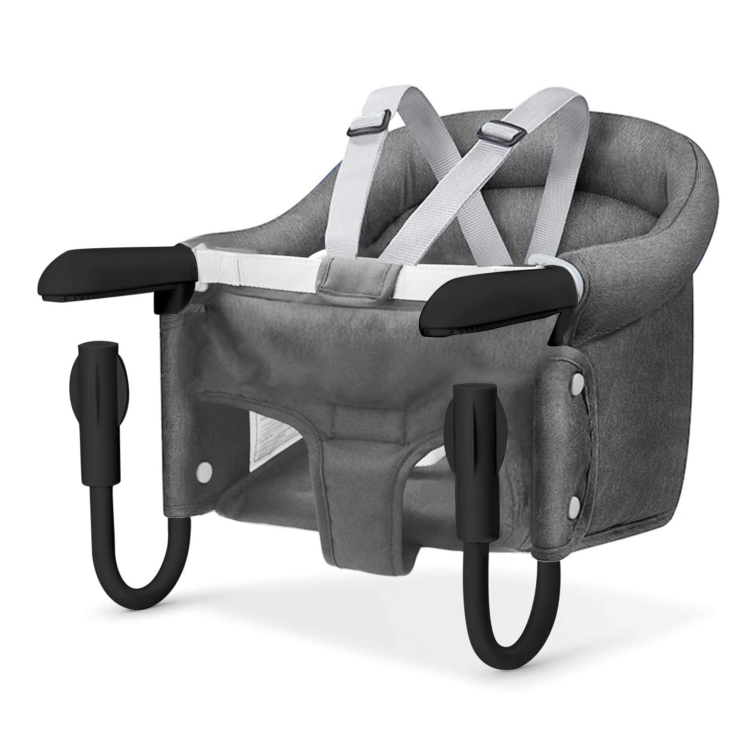 Hook On Chair, Safe and High Load Design, Fold-Flat Storage and Tight Fixing Clip on Table High Chair, Machine-Washable and Avoid Cracking Fabric, Removable Seat Cushion, Fast Table Chair (Grey)