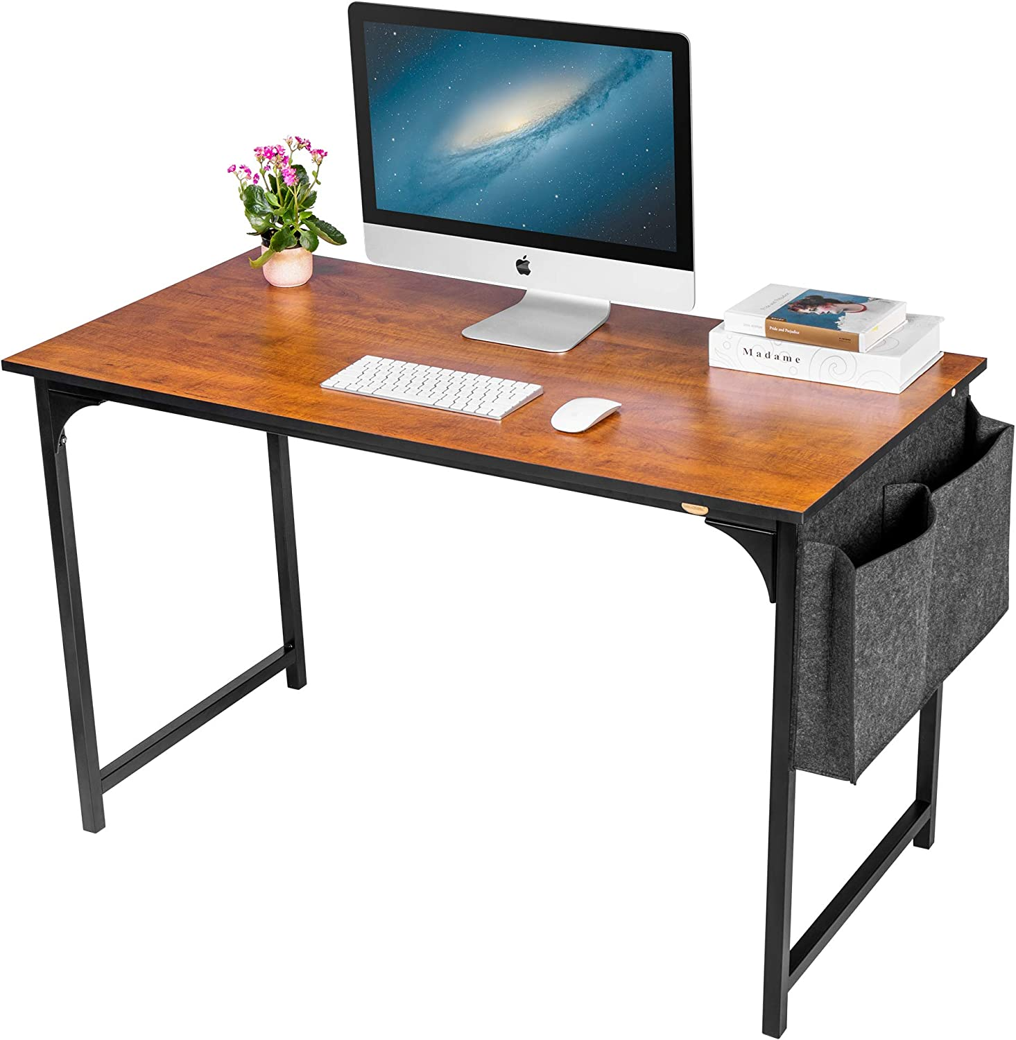 """VIVOHOME 47"""" Industrial Computer Desk, Simple Style Study Writing Table Workstation for Home Office, Black Metal Frame"""