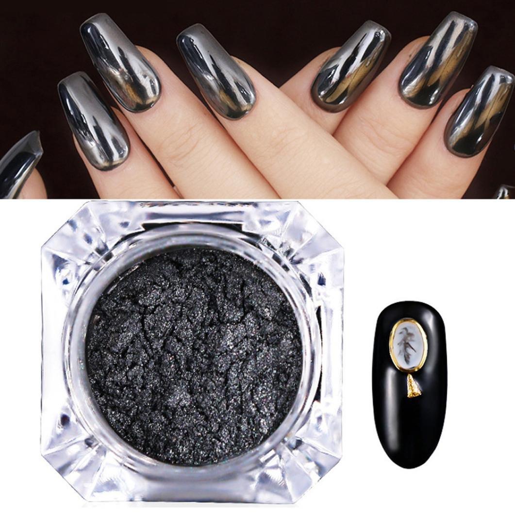 Dolloress Beauty Nail Belleza Uña ⭐PINPAI Black Mirror Chrome Effect Pigment Nail Art Powder With 1PC Sticks