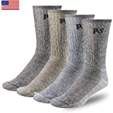 PEOPLE SOCKS Men's Women's Merino wool crew socks 4 pairs 71% premium with Arch support Made in USA