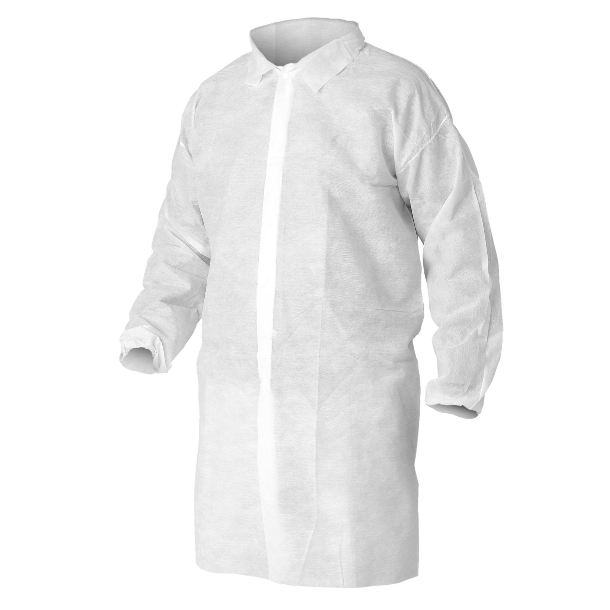 Kleenguard A10 Light Duty Lab Coat  (40103), Snap Front, Elastic Wrists, Large, White, 50 Coats / Case