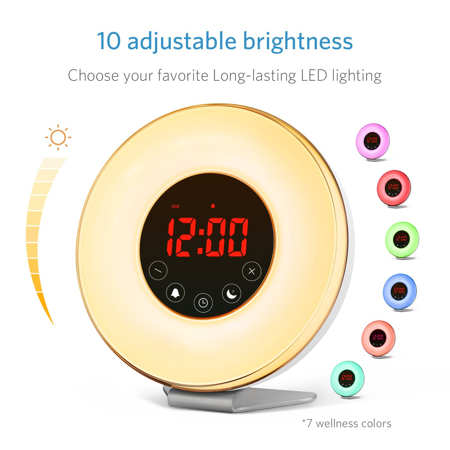Sunrise Alarm Clock, Digital LED Wake Up Light Clock by Vodool - 7 Color Switchs 10 Brightness Levels and FM Radio, Multiple 6 Nature Sounds with 15/30/60 minutes Sunset Simulation for Bedrooms