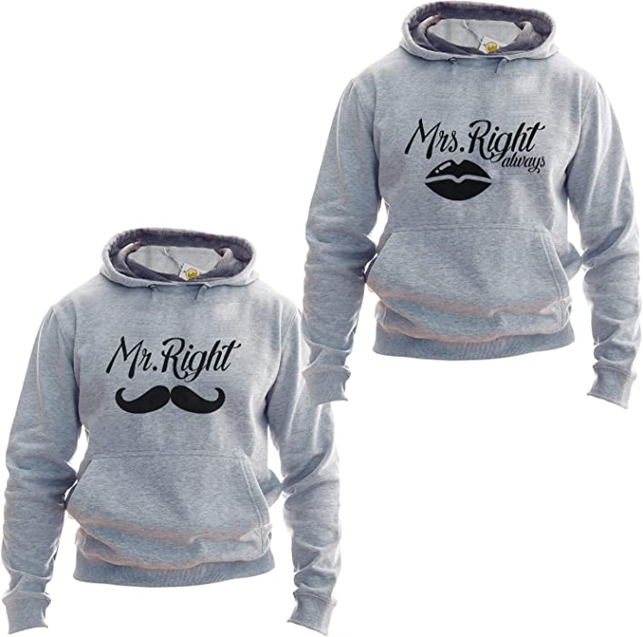King Shirt Mr Right Mrs Always RighHoodies Couple Sudadera Set 2 Partner Look Gift For Boyfriend Gift For Girlfriend