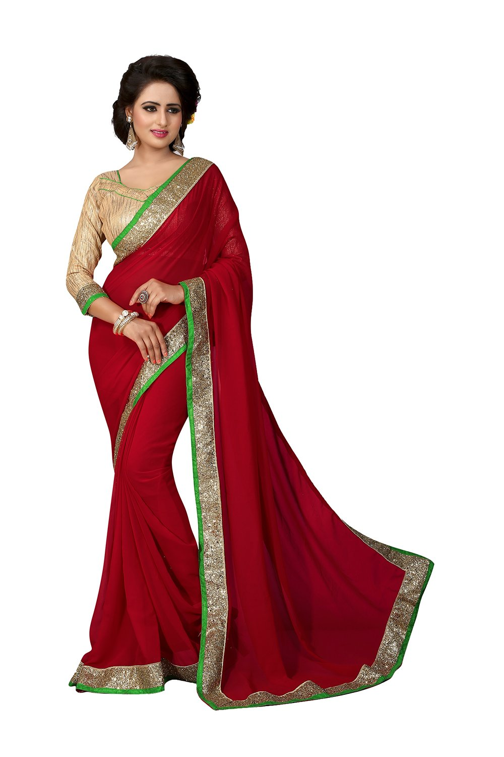 Indian Sarees for Women Wedding Designer Party Wear Traditional Red Saree.