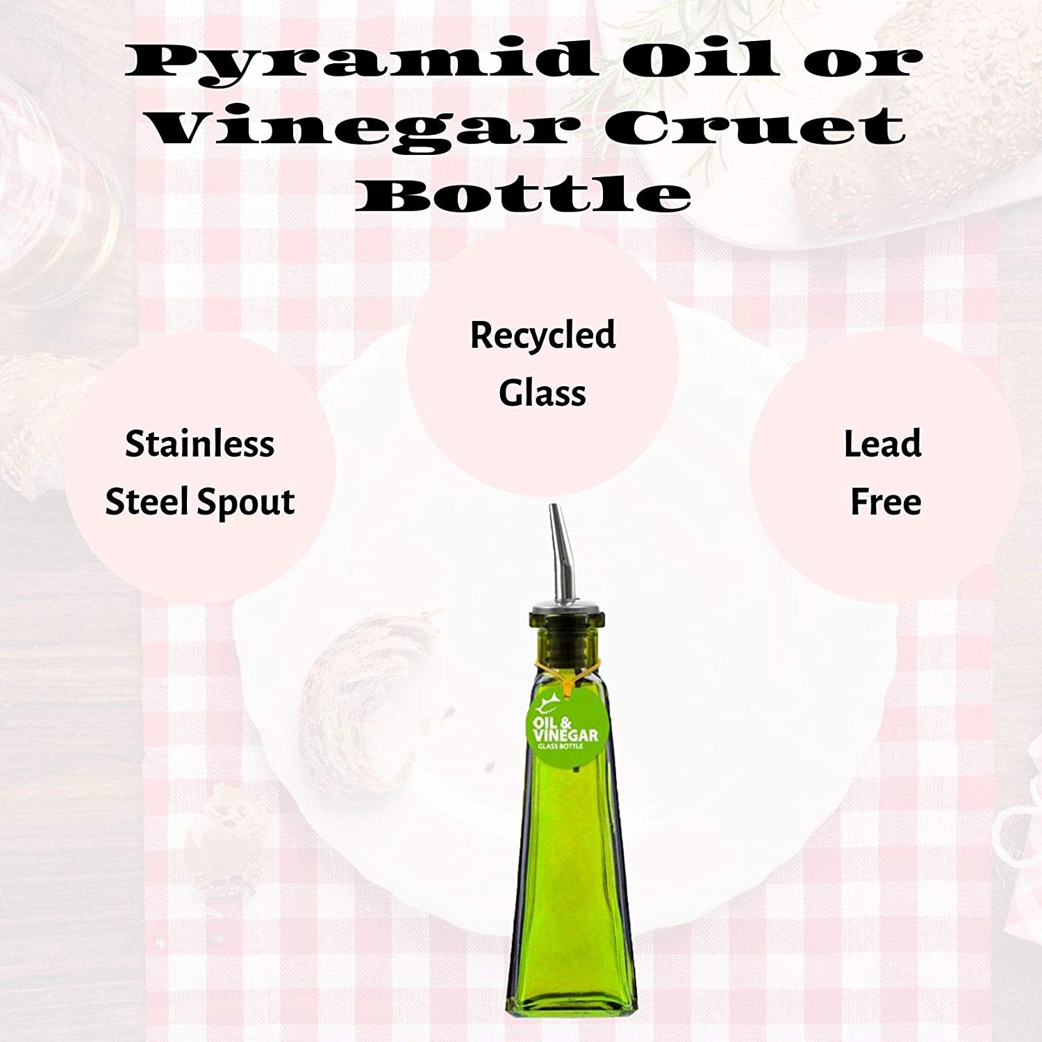 9 inches tall, Couronne Co Pyramid Recycled Glass Bottle with Glass Top B6517T