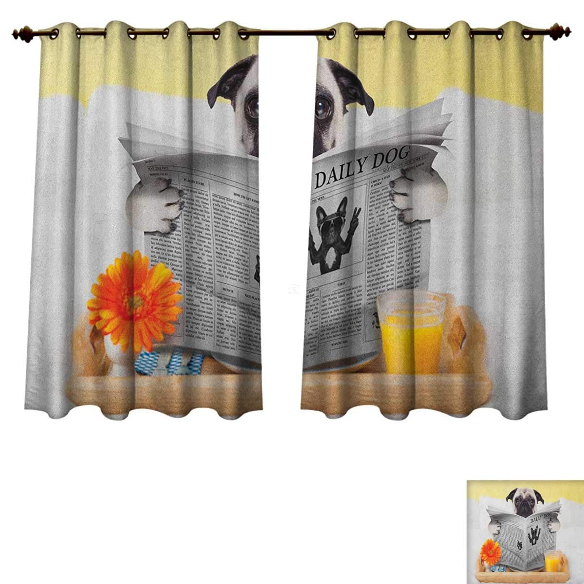 PriceTextile Pug Bedroom Thermal Blackout Curtains Pug Reading Daily Dog Breakfast in Bed Sunday Family Fun Comedic Image Window Curtain Drape Pale Brown Yellow Orange Size W55 xL63
