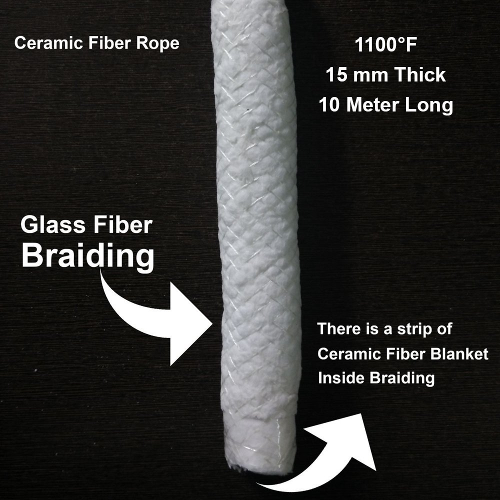 15mm x 10 Meter Round Refractory Ceramic Fiber Rope, Glass Fiber Braided, Heat Resistant Upto 1100F - Fireplace Door Gasket Replacement