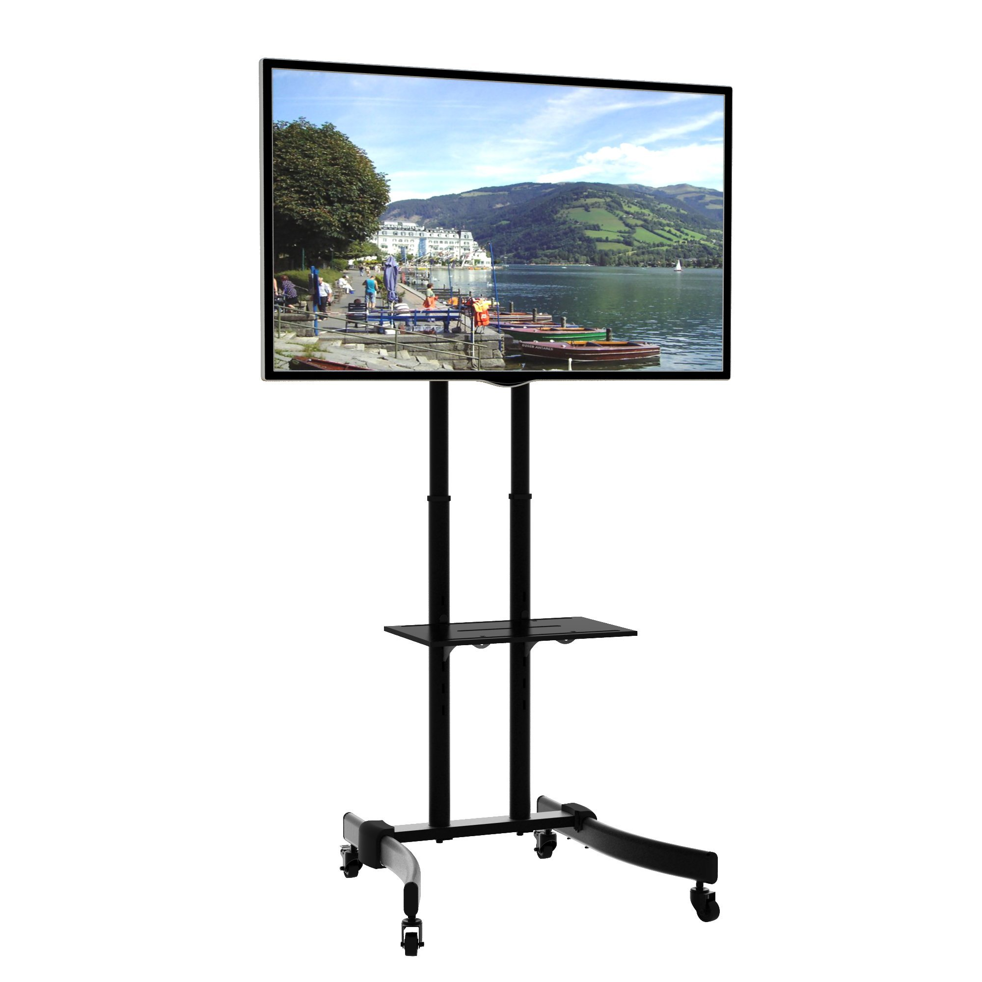 KRIEGER KMC370 Mobile TV Stand/Rolling monitor trolley with Adjustable shelf and flat screen mount – Fits 37″ to 70″ Monitors – Black