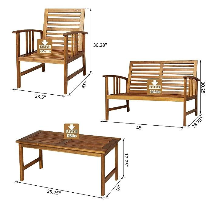Amazon.com: Festnight Juego de 4 piezas de sofá de madera de ...