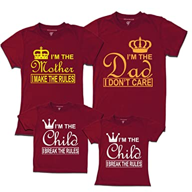 6fcb7f47a GFashion Unisex Cotton Father Mother Son and Daughter Matching Family t  Shirts (MAROON-FA
