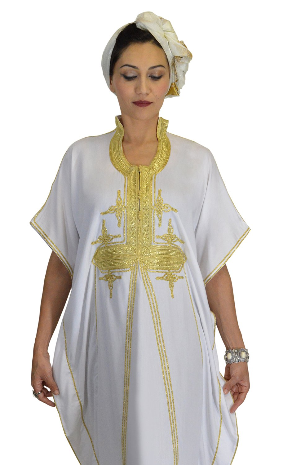 Moroccan Caftans Women Butterfly Hand Made with Gold Embroidery Long One Size White by Moroccan Caftans (Image #4)