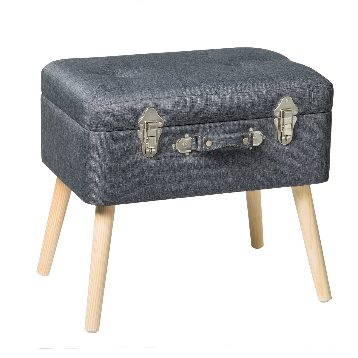 Edencomer Modern Storage Ottomans Container Bench Sturdy Foot Rest Stool Seat Smart Portable Collection Suitcase with Detachable Wooden Legs and Safety Lock for Home Travel, Classic Grey