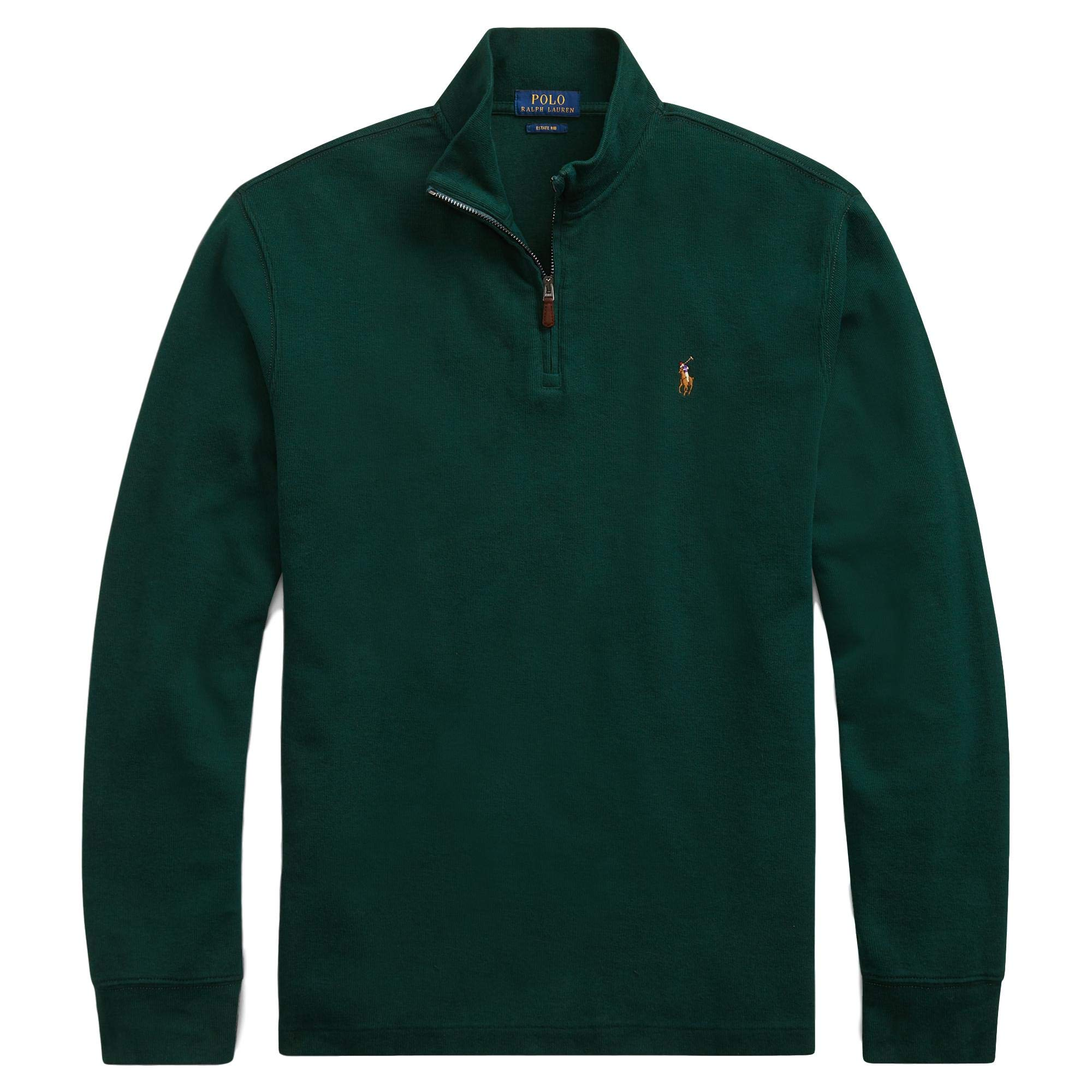 Polo Ralph Lauren Mens Half Zip French Rib Cotton Sweater (Small, ClgGreenSigPony)