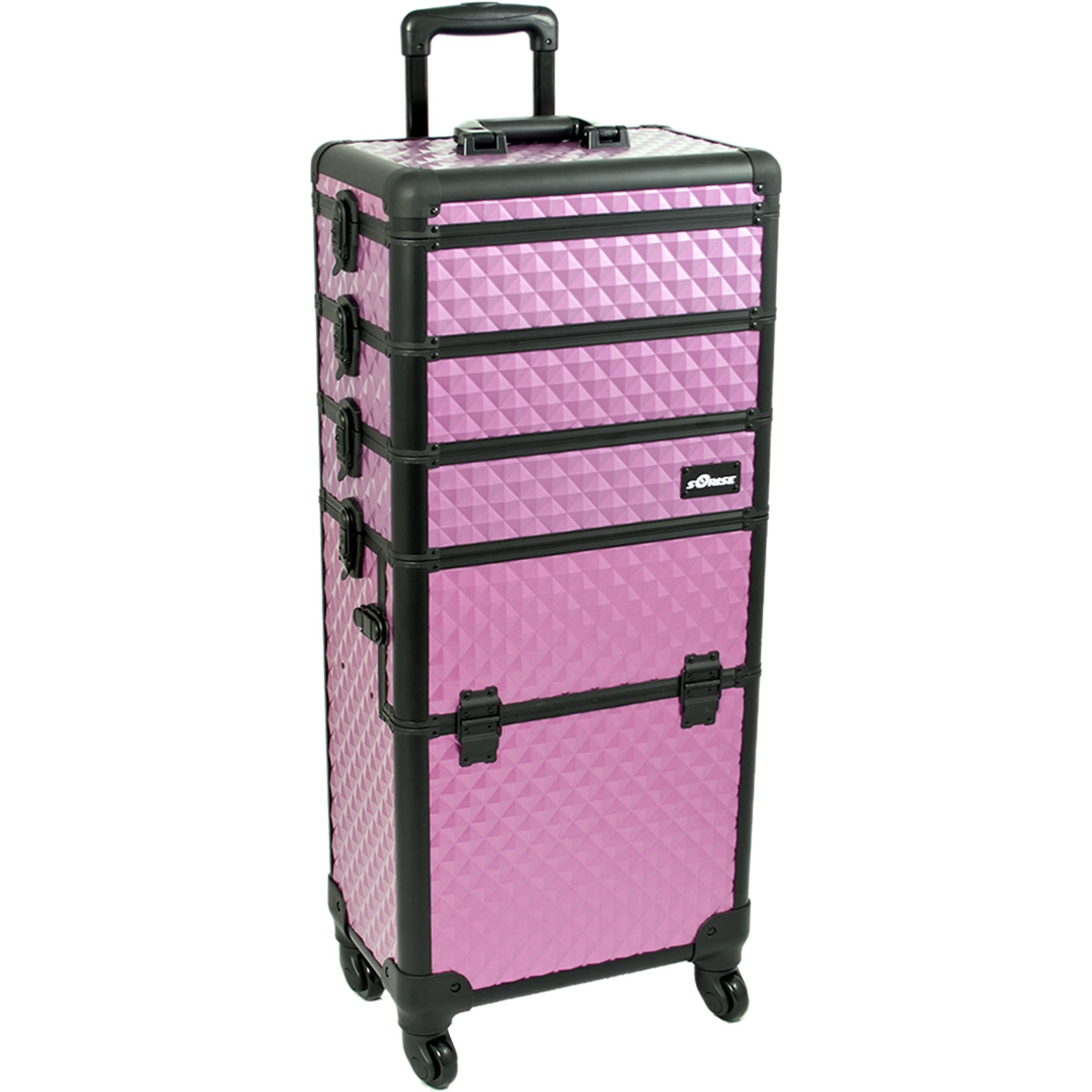 SUNRISE Makeup Case on Wheels 4 in 1 Professional Organizer I3361 Aluminum, 3 Stackable Trays with Adjustable Dividers, Locking with Mirror, Purple Diamond