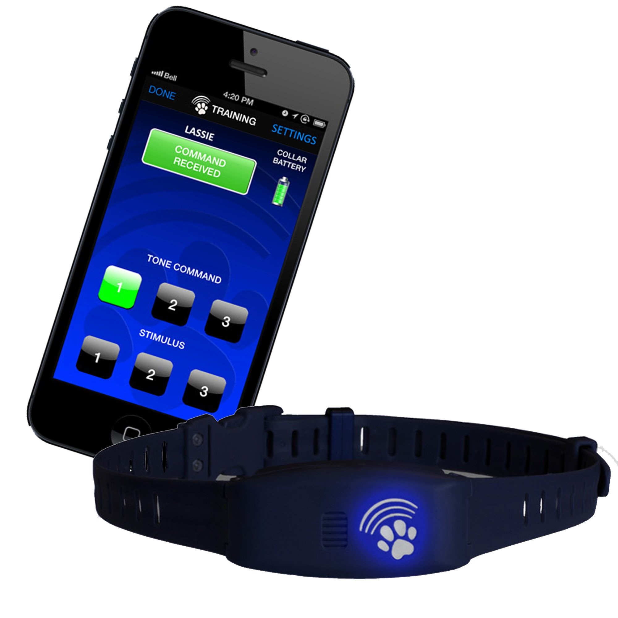 High Tech Pet Bluefang Smart Phone Remote Dog Training and Bark Control Collar, BF-16, Navy Blue