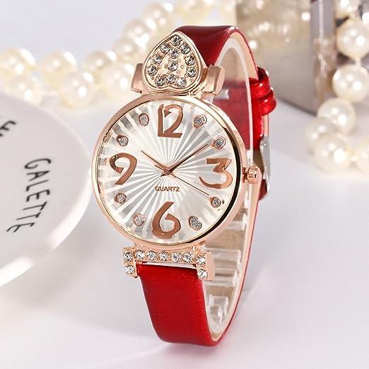 Kinlene baratos mujer relojes, casual de moda Reloj analógico de cuarzo analógico con correa de cuero de PU (Rojo): Amazon.es: Relojes