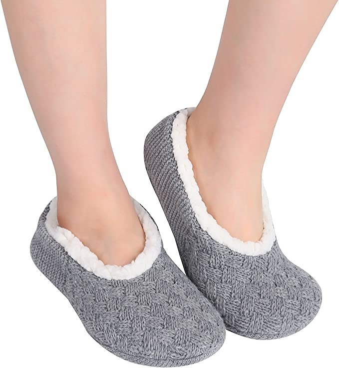 Ladies Slippers Soft Knitted Ballet Style Bow Cosy Fleece Warm UK Gifts Xmas