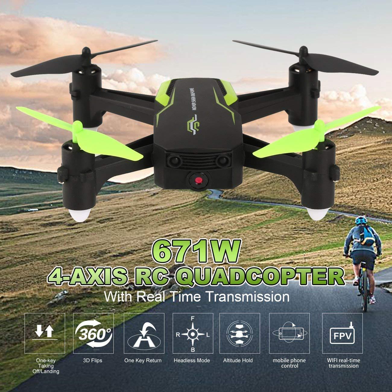 Elviray 671W Altitude Hold FPV Drone 30W HD WiFi Camera 4 Assi Senza Testa modalit/à Trasmissione in Tempo Reale RC Drone Quadcopter