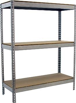 Estantería metálica para almacén con bandejas de madera ...