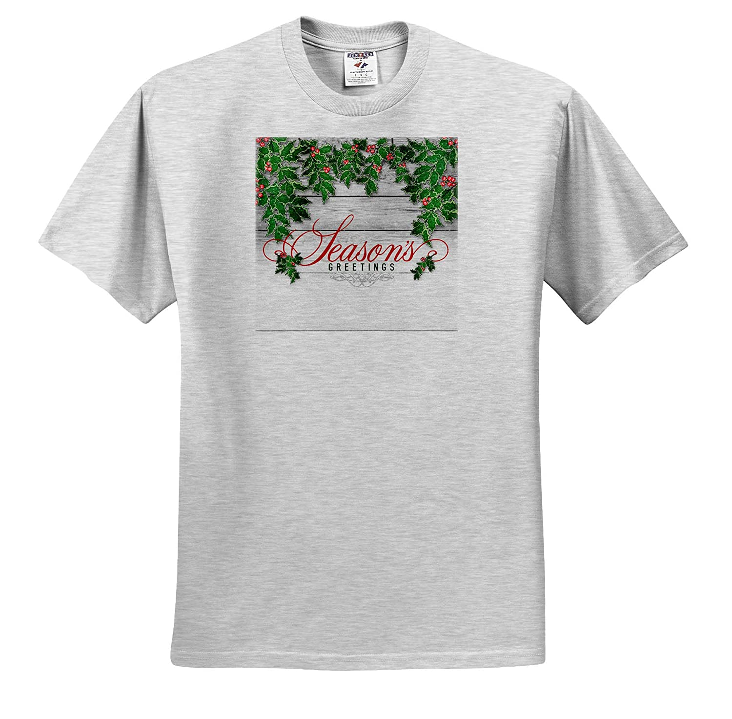 3dRose Doreen Erhardt Christmas Collection Seasons Greetings with Western Barn Wood for Country Christmas T-Shirts