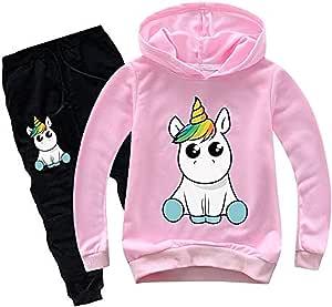 Conjunto de pantalón y Camiseta con Capucha para niña Unicornio ...