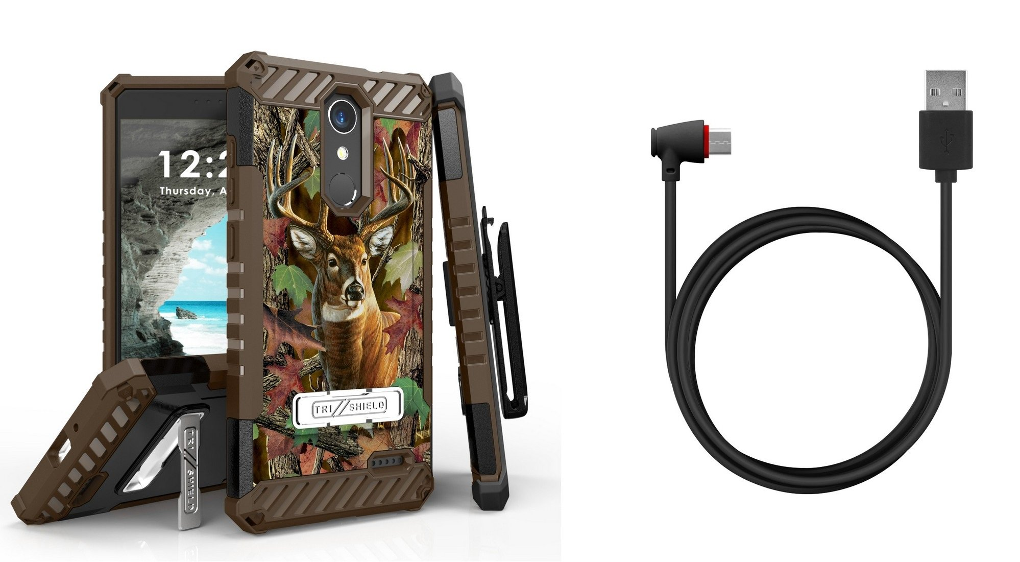 Tri-Shield Military Grade Case Bundle with Belt Clip Holster (Deer Camo), [90 Degree/Right Angle] USB Type C Cable [4 Foot], Atom Cloth for ZTE Blade Spark, ZTE ZMAX One LTE, ZTE Grand X 4