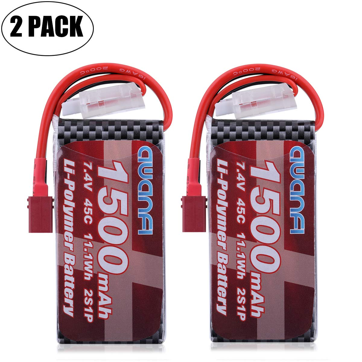 AWANFI 2S Lipo Battery Pack 7.4V 1500mAh 45C Rechargeable RC Battery Pack with Deans T Plug for RC Cars RC Boats RC Truck Traxxas Helicopter Drone Hobby(2 Pack)