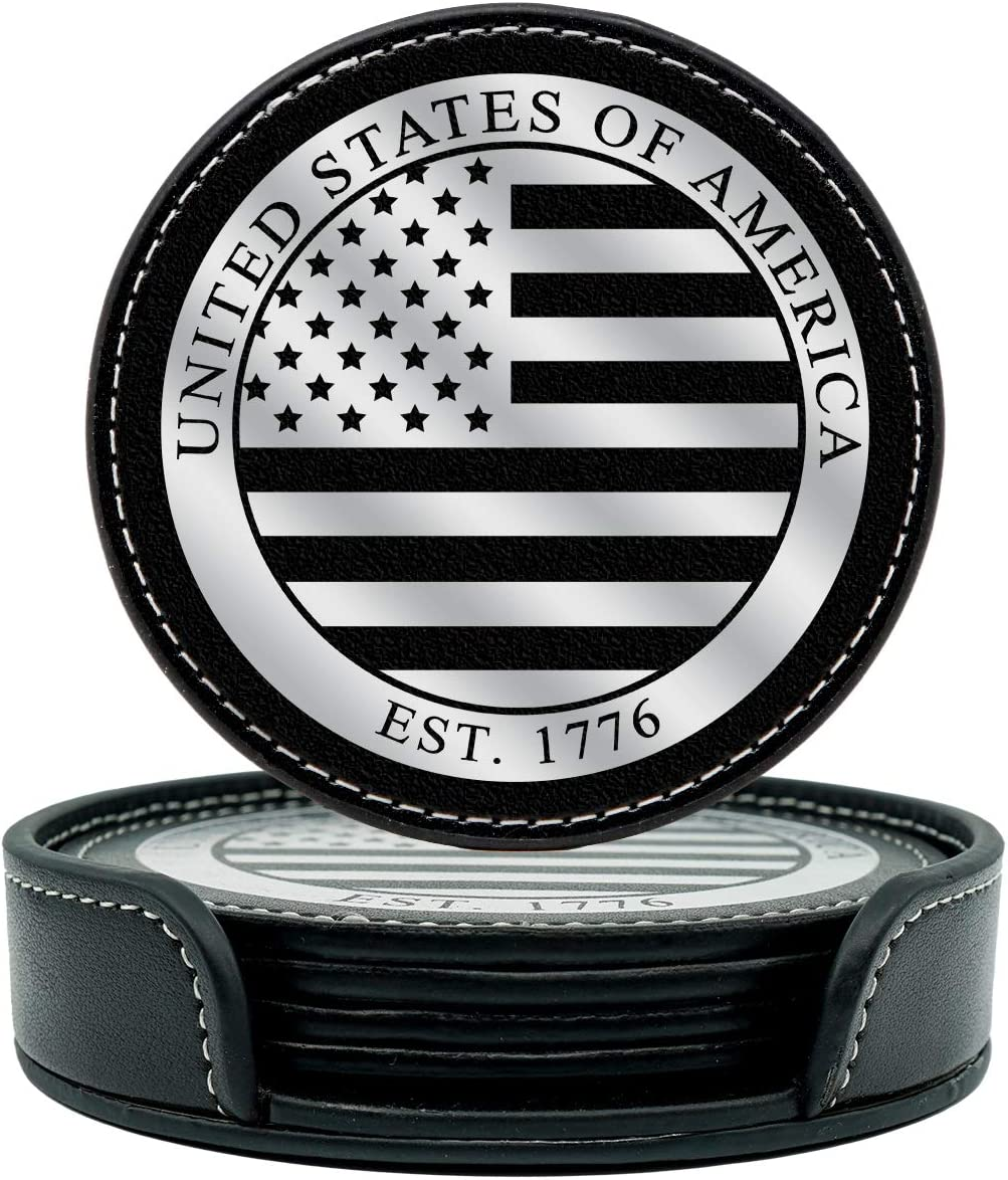 Military Gift Shop American Flag Coasters Set - 4 USA Drink Coasters for Home, Bar, Office or Car (American Flag)