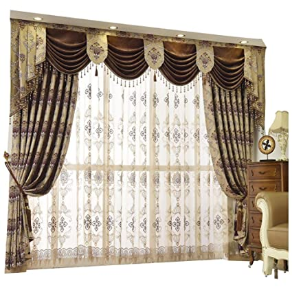 Amazon Com Queen S House Luxury Baroque Pattern Window Curtains