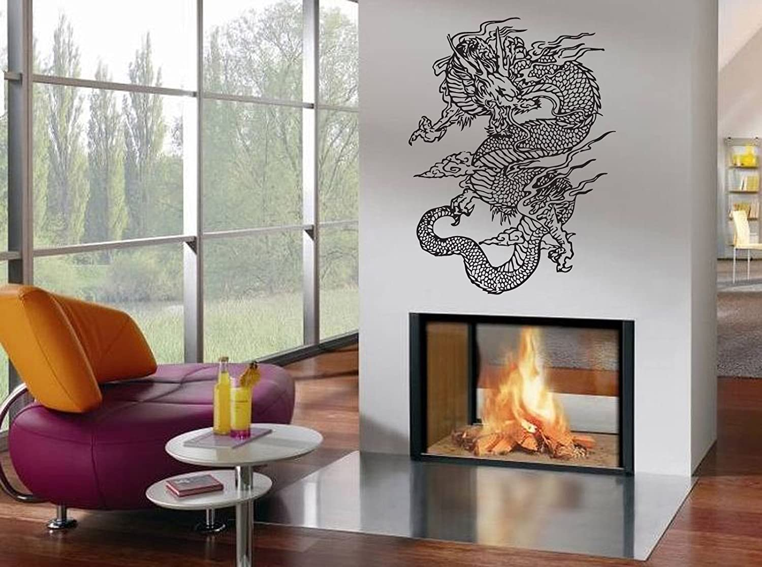 Amazon.com: Wall Decor Vinyl Decal Sticker Japanese Dragon Tz980: Home U0026  Kitchen