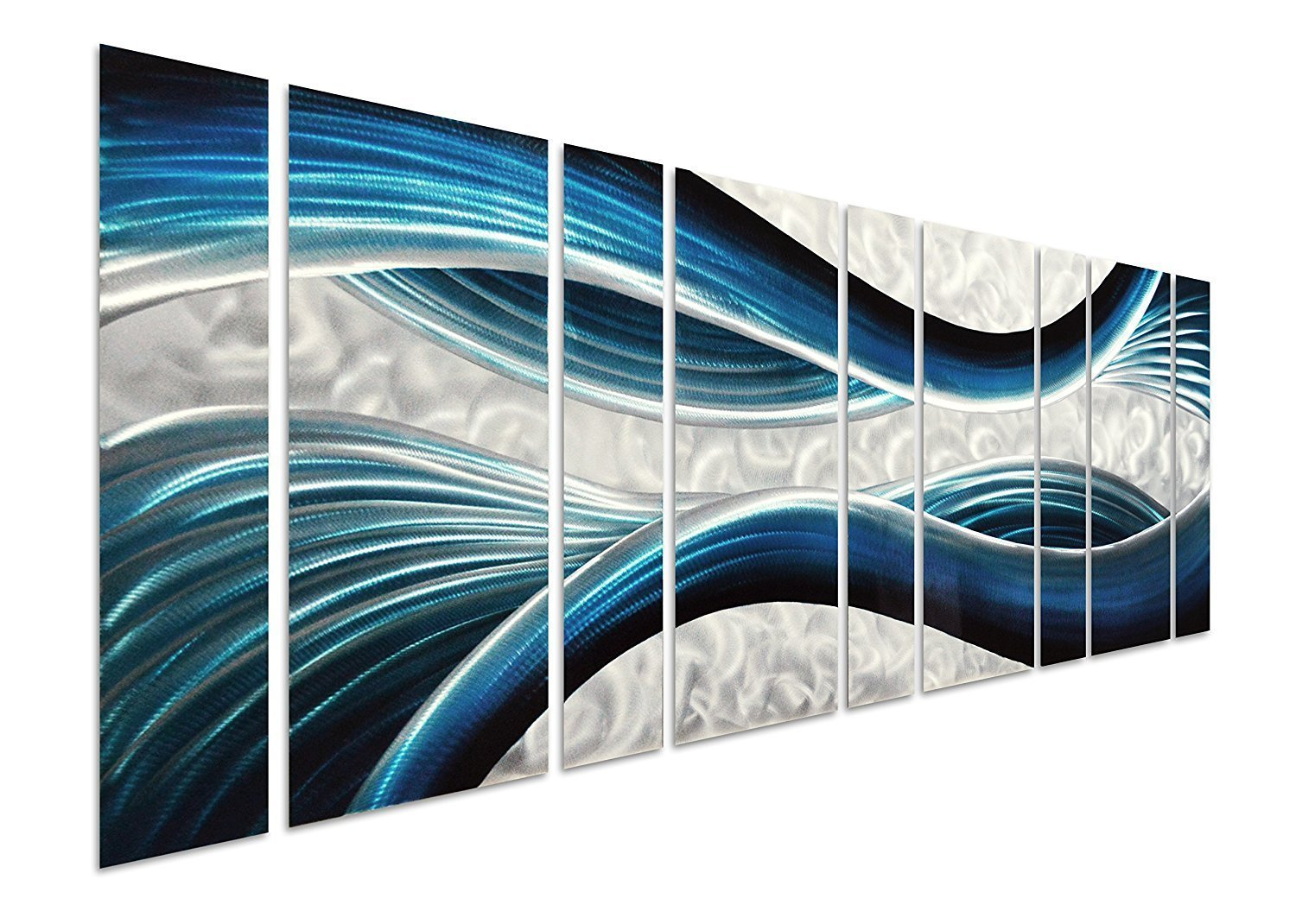 """Pure Art Blue Desire Metal Wall Art, Giant Scale Decor in Abstract Ocean Design, 9-Panels Measures 86""""x 32"""", 3D Wall Art for Modern and Contemporary Decor, Great for Indoor and Outdoor Settings"""