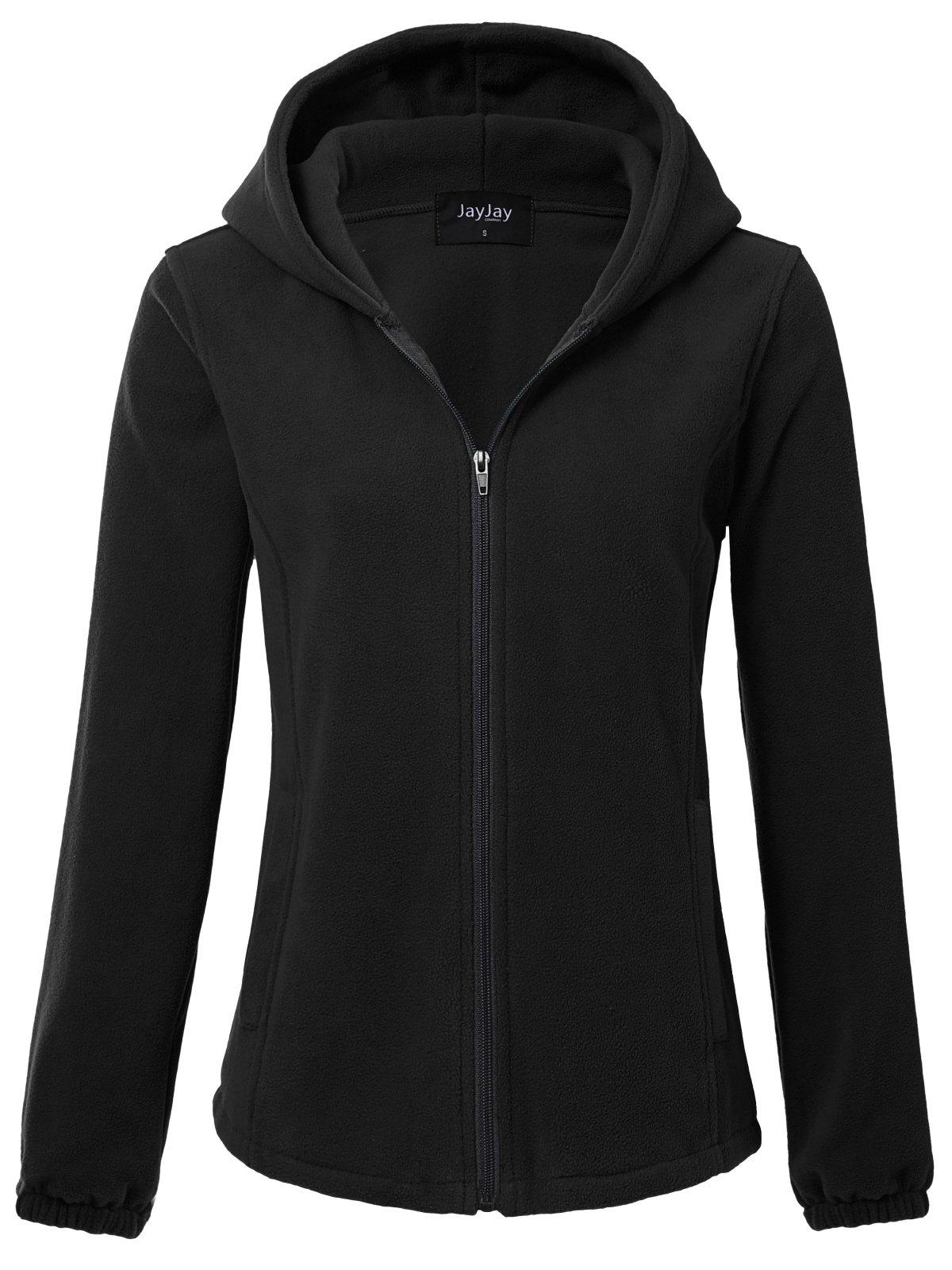 JayJay Women Ultra Soft Fleece Long Sleeve Hoodie Jacket,Black,2XL