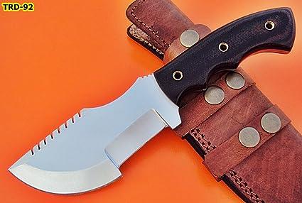 Poshland Knives TRD-92 Custom Handmade D2 Tool Steel Tracker Knife- Two Tone Canvas Micarta Handle