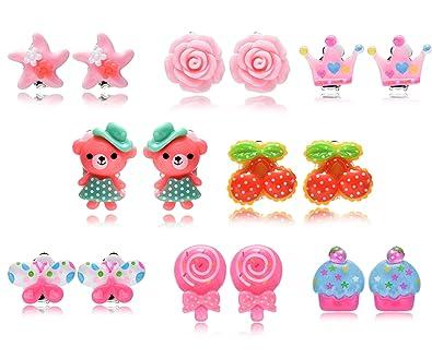 2d926d9f2a44 Fsmiling Set pendientes clip colores flor animales para niñas bebes 8  pares  Amazon.es  Joyería