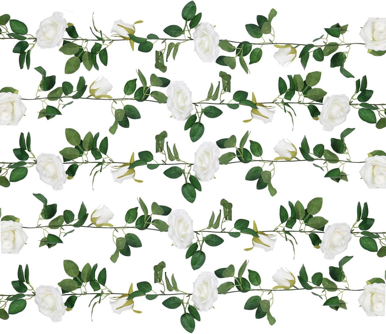 U'Artlines Artificial Rose Vine Silk Flower Garland Hanging Baskets Plants for Indoor Outdoor Home Wedding Arch Garden Wall Decor (5pcs, White)