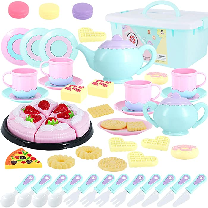 Toys Tea Set 50 Pieces Party Play Food for Kids,Princess Tea Time Toy Set Including Dessert,Cookies,Tea Party Accessories Toy for Toddlers,Boys Girls