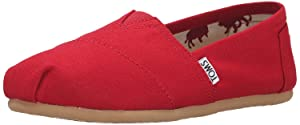 Toms Classic Black Canvas Womens (6.5 B(M) US, Red)