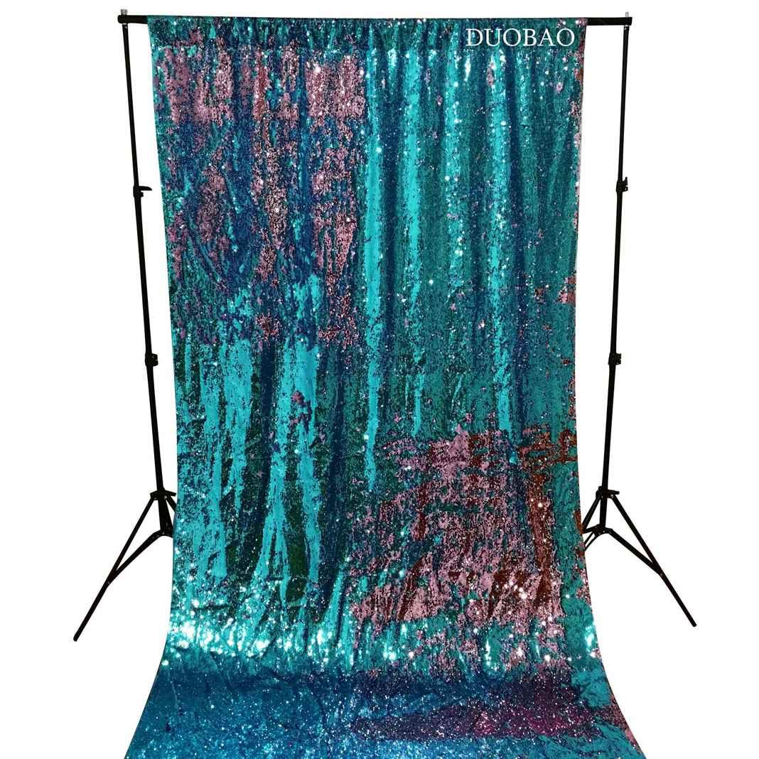 DUOBAO Sequin Backdrop 20FTx10FT Turquoise to Pink Glitter Backdrop Curtain Mermaid Reversible Sequin Curtains Beautiful Background by DUOBAO (Image #2)