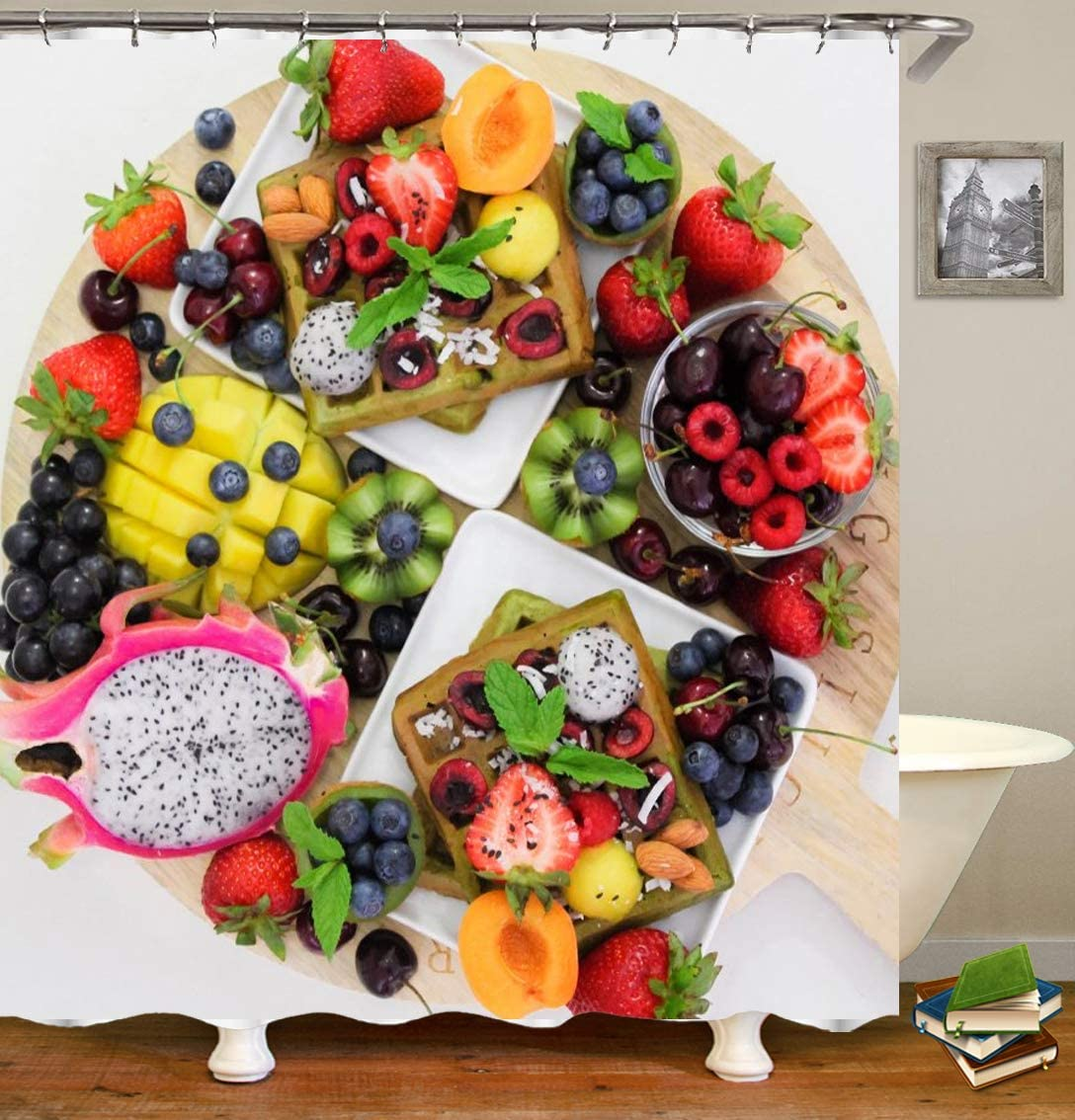 TIAQUN Funny Fruit Platter Shower Curtain, Diverse Fruit Foods colorful Shower Curtain for Bathroom Decor with Hooks. 59x70Inch