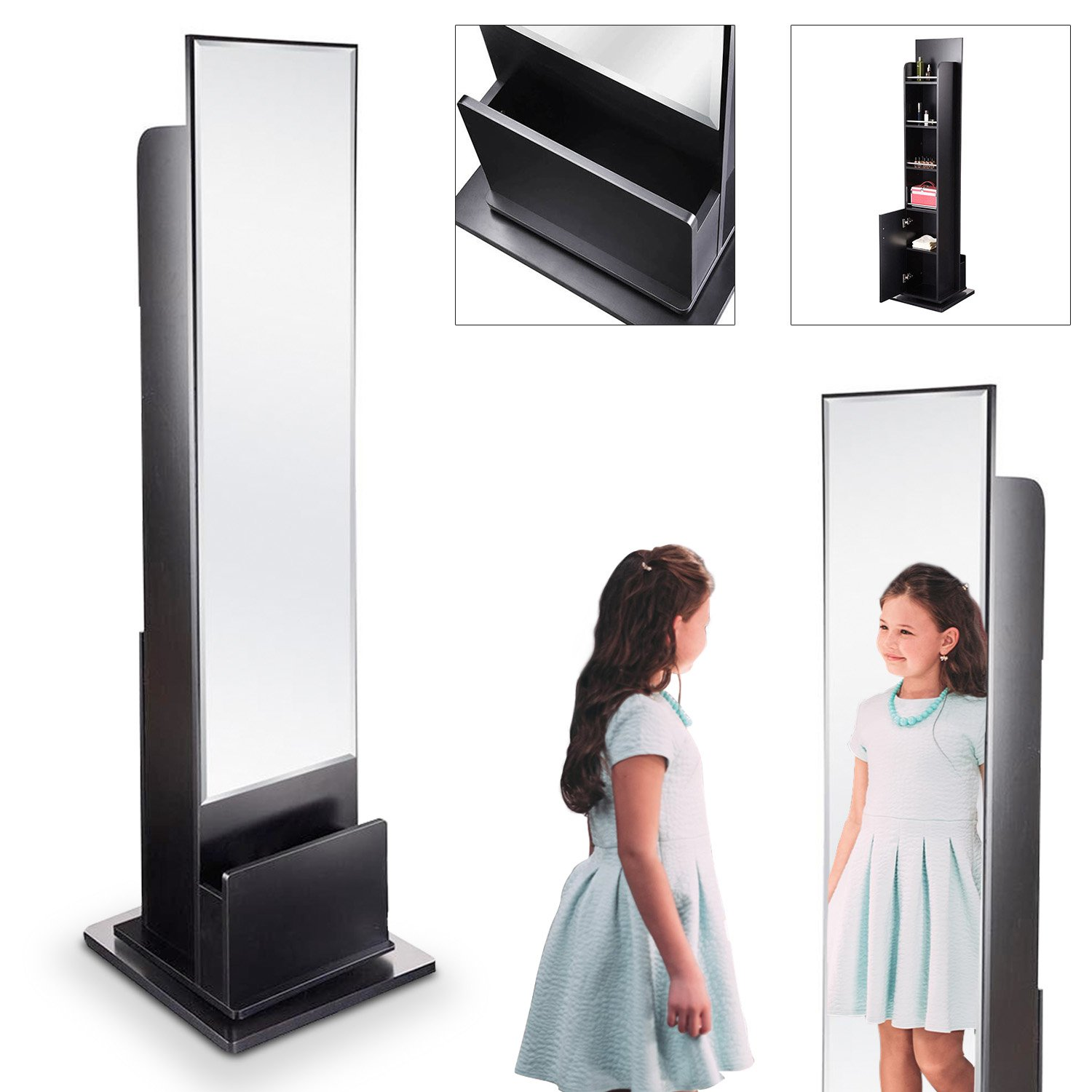 Koval Inc. 71 in Free-Standing Rotating Cabinet Storage W Mirror (Black)