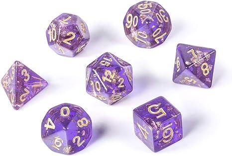 Nebula Blue DND Dados Set,7 Dies Polyhedral Juego Dados con Free Pounch para Dungeons y Dragons Juego de Mesa Roll Play Juego Dados Collector, Lámina Dorada Morada.: Amazon.es: Juguetes y juegos