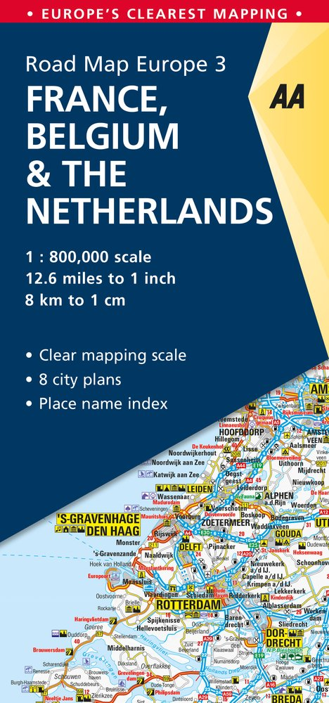 Aa Road Map France Belgium Netherlands Road Map Europe Aa Road