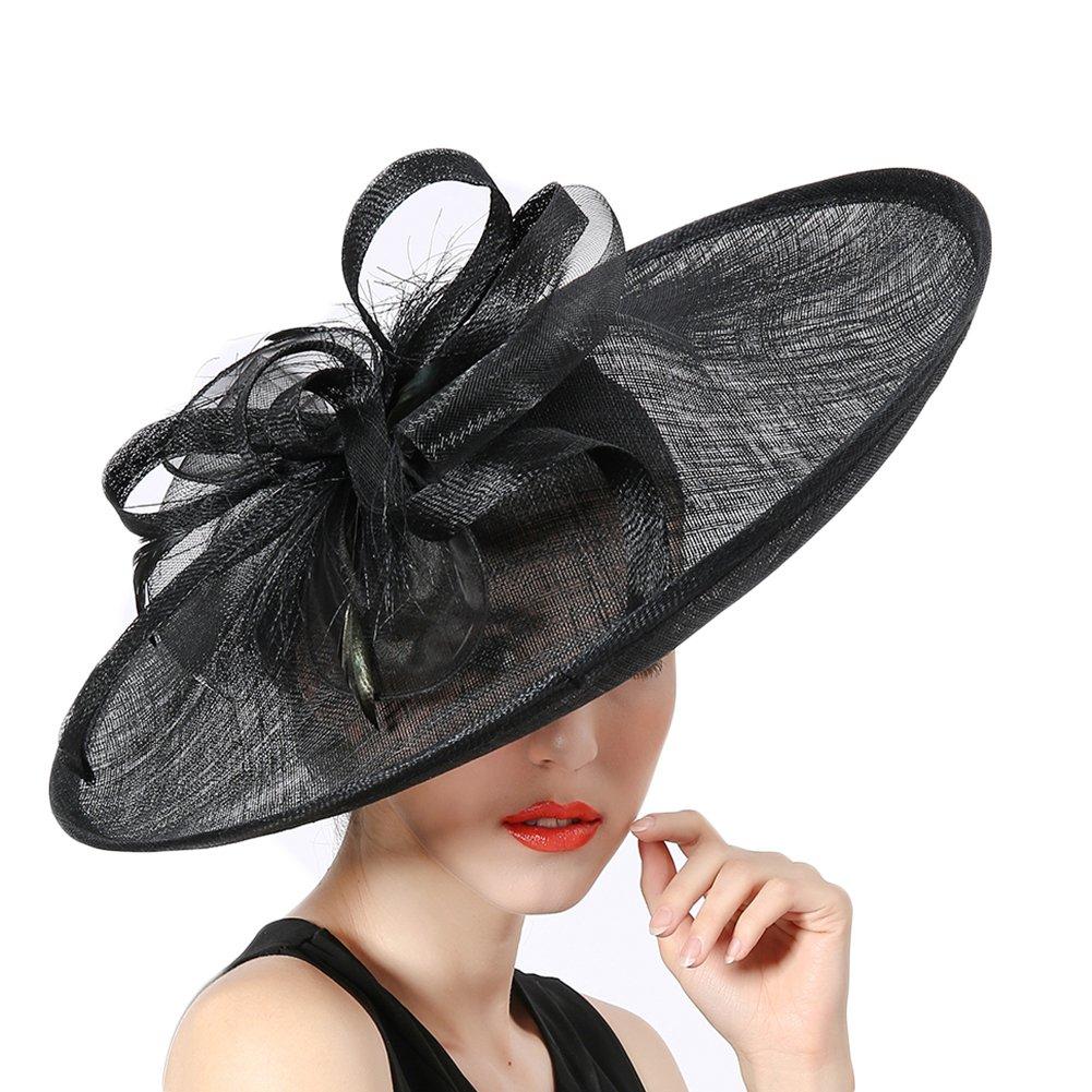 Koola Hats Ladies Hand-Made Silk Ribbon Headdress Marriage Hats Wedding Top Hats Black