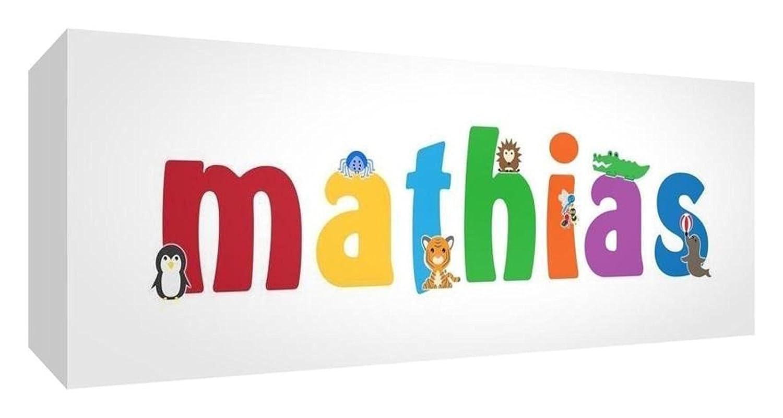 Little Helper Toile Boîte Galerie Enveloppé avec Panneau Avant Style Illustratif Coloré avec le Nom de Jeune Garçon Mathias 15 x 42 x 3 cm Petit LHV-MATHIAS-1542-15FR